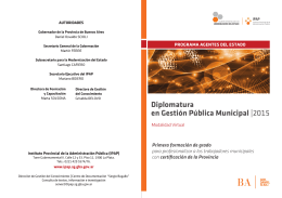 Diplomatura en Gestión Pública Municipal |2015