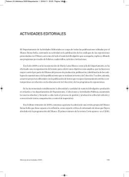 Actividades Editoriales - Museo Nacional Centro de Arte Reina Sofía