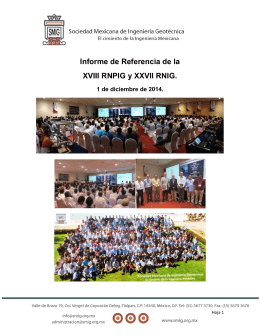 Informe de Referencia de la XVIII RNPIG y XXVII RNIG.