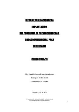informe evaluación de la implantación del programa de prevención