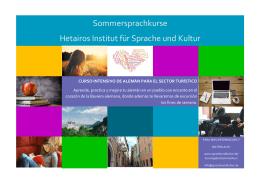 Sommersprachkurse Hetairos Institut für Sprache und Kultur