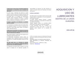 ADQUISICIÓN Y USO DE LUBRICANTES