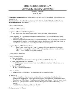 Modesto City Schools SELPA Community Advisory Committee