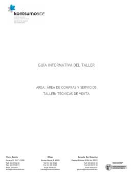 Guía informativa del taller `Técnicas de venta`