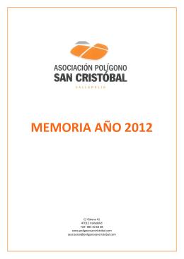 """memoria año 2012 - Asociación Polígono Industrial """"Cerro de San"""