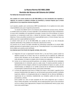 La Nueva Norma ISO 9001:2008 Revisión del Alcance del Sistema