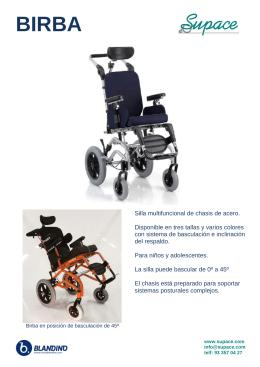 Silla multifuncional de chasis de acero. Disponible en tres tallas y