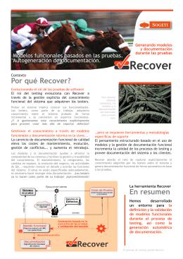 Por qué Recover? En resumen