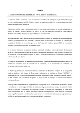 FRANCIA LA ASISTENCIA SANITARIA COORDINADA POR EL