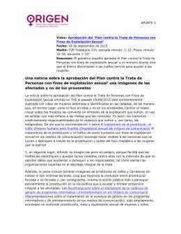 Una noticia sobre la aprobación del Plan contra la Trata