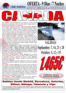 Page 1 Día 1. Madrid – Toronto. Presentación en el aeropuerto a la