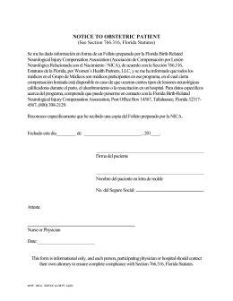 NOTICE TO OBSTETRIC PATIENT - Women`s Health Partners, LLC