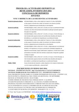 programa actividades deportivas benicassim, invierno 2015