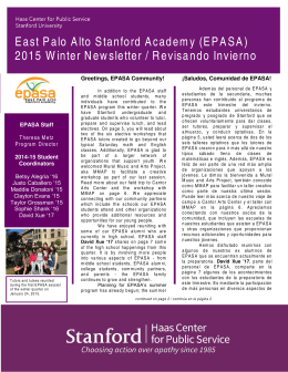 East Palo Alto Stanford Academy (EPASA) 2015 Winter Newsletter