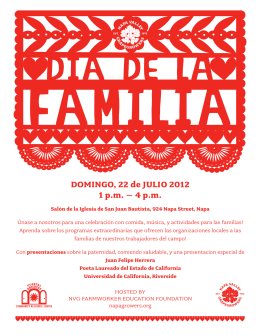DOMINGO, 22 de JULIO 2012 1 p.m. – 4 p.m.