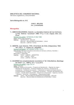 Bibliografía sobre Chile-Bolivia - Biblioteca del Congreso Nacional