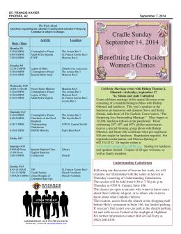 Cradle Sunday September 14, 2014 Benefitting