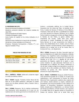 ITALIA TURISTICA - Agatha Representaciones