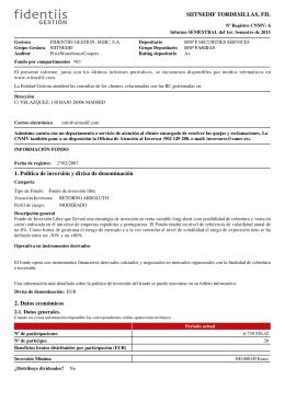 SIITNEDIF TORDESILLAS, FIL 1. Política de inversión y divisa de