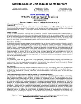 Orden del Día de la Reunión del Consejo, 10 de diciembre del 2013