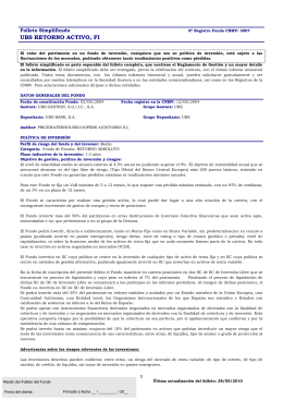 UBS RETORNO ACTIVO, FI