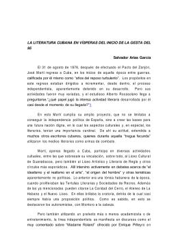 LA LITERATURA CUBANA EN VÍSPERAS DEL