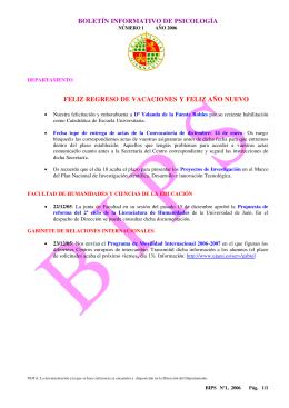 BOLETÍN INFORMATIVO DE PSICOLOGÍA FELIZ REGRESO DE