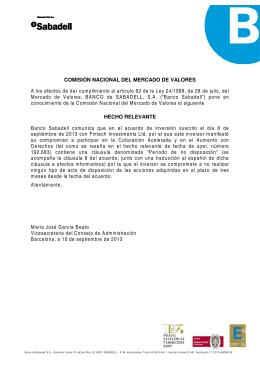 hecho relevante - Banco de Sabadell