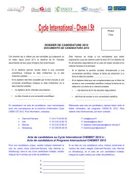 DOSSIER DE CANDIDATURE 2012 Acte de candidature au Cycle