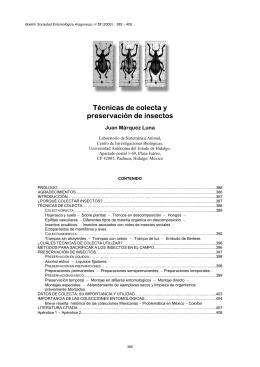 Técnicas de colecta y preservación de insectos