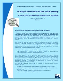 Folleto Curso QA - Instituto de Auditoría Interna y Gobierno