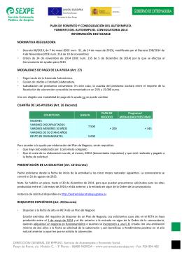 PLAN DE FOMENTO Y CONSOLIDACIÓN DEL AUTOEMPLEO