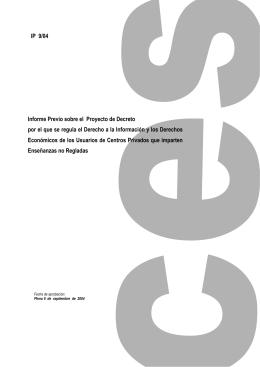 Informe Previo sobre el Proyecto de Decreto por el que se regula el