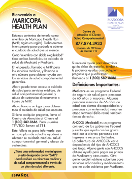 MARICOPA HEALTH PLAN - The University of Arizona Health Plans