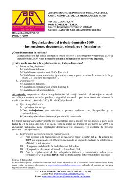 Regularización del trabajo doméstico 2009