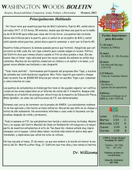 1-18-2013 WWES Bulletin spanish