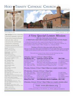 A Very Special Lenten Mission:
