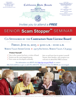 SENIOR Scam Stopper - City of Moreno Valley