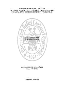 NUESTRO DIARIO - Universidad Rafael Landívar