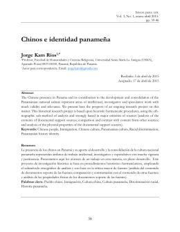 Chinos e identidad panameña - Universidad Católica Santa María