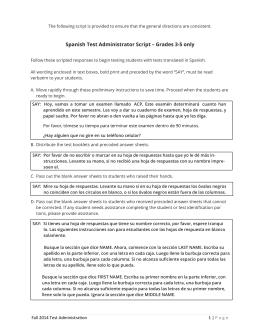 Spanish Test Administrator Script – Grades 3