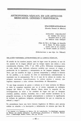 antroponimia náhuatl en los antiguos mexicanos. génesis y