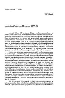 Américo Castro en Houston: 1955-59