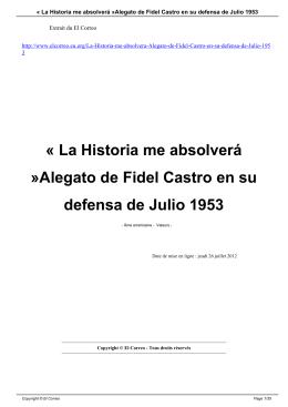 « La Historia me absolverá »Alegato de Fidel Castro en
