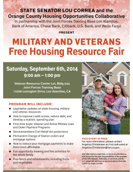military and veterans Free Housing Resource Fair