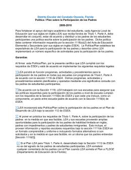 Distrito Escolar del Condado Osceola, Florida Política / Plan sobre
