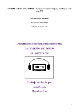 Didactizar/diseñar una cuña radiofónica LA CORRIDA DE TOROS