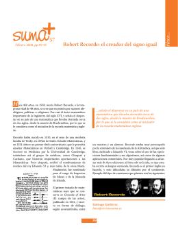 Robert Recorde - SUMA Revistas de matemáticas