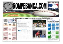 FOLLETO DE PRONÓSTICO DE MLB 23 OCTUBRE -