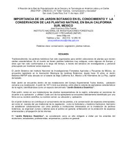 IMPORTANCIA DE UN JARDIN BOTANICO EN EL CONOCIMIENTO